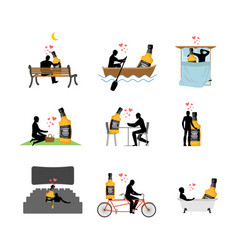 Lover alcohol drink set man and whiskey in movie vector