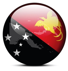 Map on flag button of independent state papua new vector
