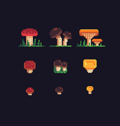 mushrooms pixel art icons set vector image vector image