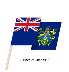 Pitcairn islands ribbon waving flag isolated on vector