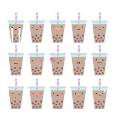 Set of bubble tea emotions vector