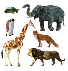 Set of different animals polygonal icons vector