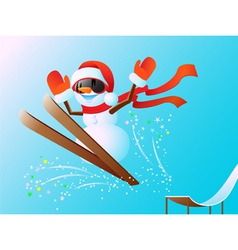 Snowman on skis vector image vector image