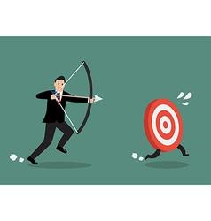 Target run away from businessman archer vector
