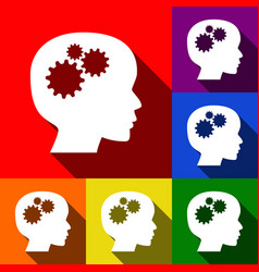 thinking head sign set of icons with flat vector image