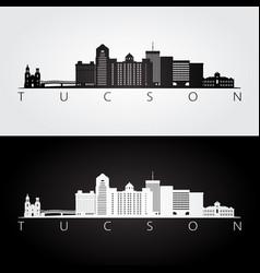 tucson usa skyline and landmarks silhouette vector image