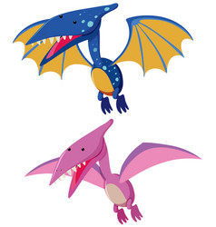 Two pterosaurs in blue and pink vector