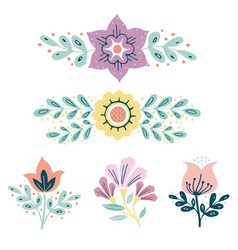 Wreath herbs and flowers set simple hand drawn vector