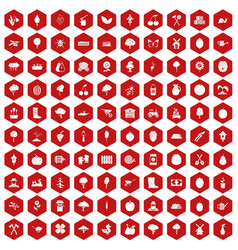 100 agriculture icons hexagon red vector