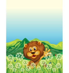 A lion waving his hand near the weeds vector