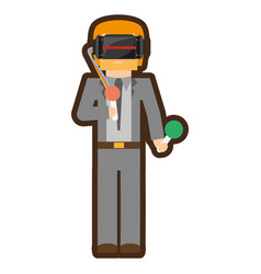 Man with reality virtual headset vector