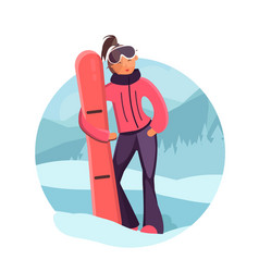 woman with snowboard vector image