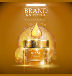 golden cream bottle with golden cap placed on a vector image