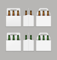 Brown green bottles of beer with packaging vector