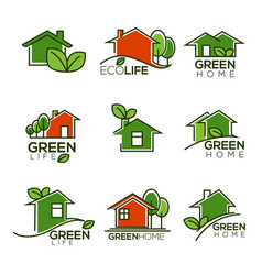 Set of ecological homes green leaves and trees vector