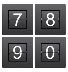 Numeric series 7 to 0 from mechanical scoreboard vector