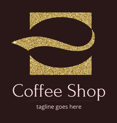 logo with a golden glitter sheen symbol for vector image