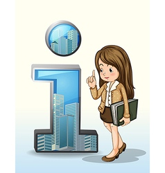 A business person beside the number one figure vector image