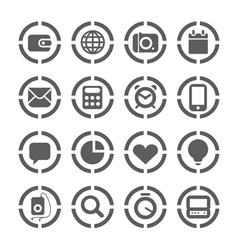 Web icons on circles collection vector