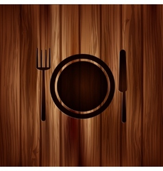 Plate web icon wooden background vector