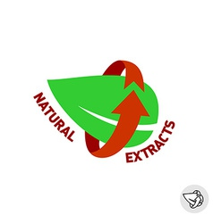 Natural extracts green leaf eco sign badge vector
