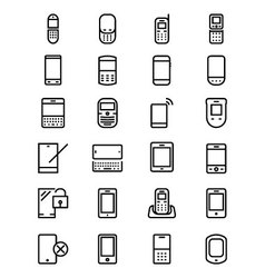 Mobile line icons 1 vector