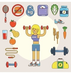 Healthy lifestyle flat icon set vector