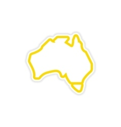 Paper sticker australian map on white background vector
