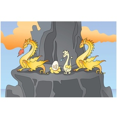 Family of yellow dragons vector