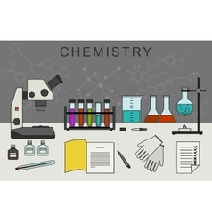 Chemistry banner with chemical equipment vector