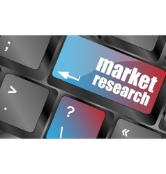 Key with market research text on laptop keyboard vector