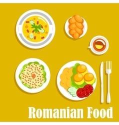 Authentic vegetarian dinner of romanian cuisine vector image