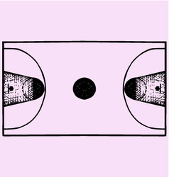 Basketball field court top view vector