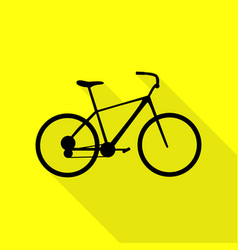 Bicycle bike sign black icon with flat style vector