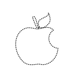 Bite apple sign black dashed icon on vector