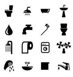 black bathroom icon set vector image vector image