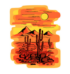 cacti at sunset vector image vector image