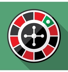 Casino roulette wheel flat icon vector