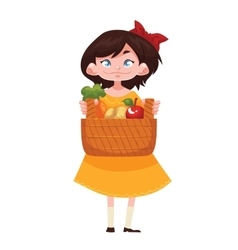 child holding baskets of fruits and vegetable vector image