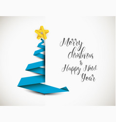christmas tree made from paper stripe vector image
