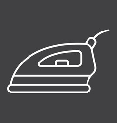 Electric iron line icon household and appliance vector