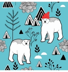 Endless pattern with polar bear in red heat vector