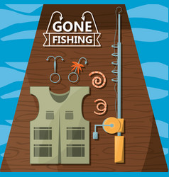 fishing equipment basic for catch vector image vector image
