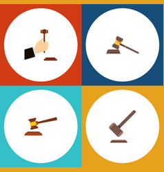 Flat icon court set of law hammer court and vector