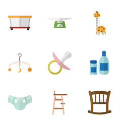 Flat icon kid set of mobile nappy playground and vector