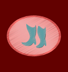 flat shading style icon women boots with heels vector image vector image