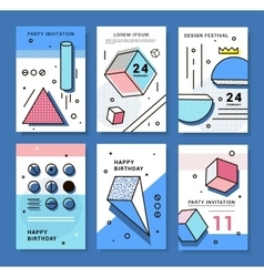 geometric elements Memphis vector image