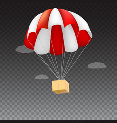 icon of package flying on red parachute on a vector image vector image
