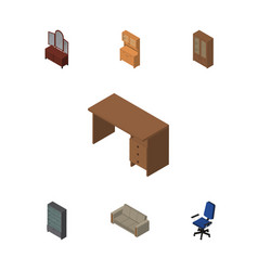 Isometric furniture set of couch office cupboard vector