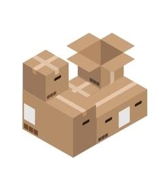 Modern cardboard boxes set delivery vector